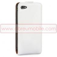 Bolsa / Capa Pele Sintetica Flip Cover Para APPLE IPHONE 4 / 4S Branca
