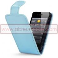 Bolsa / Capa Pele Sintetica Flip Cover Para APPLE IPHONE 4 / 4S Azul