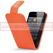 Bolsa / Capa Pele Sintetica Flip Cover Para APPLE IPHONE 4 / 4S Laranja