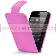 Bolsa / Capa Pele Sintetica Flip Cover Para APPLE IPHONE 4 / 4S Rosa