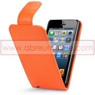 Bolsa / Capa Pele Sintetica Flip Cover Para APPLE IPHONE 5 / 5S / SE Laranja