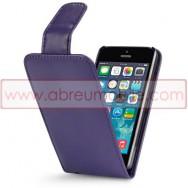 Bolsa / Capa Pele Sintetica Flip Cover Para APPLE IPHONE 5 / 5S / SE Roxa