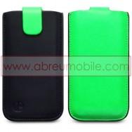 Bolsa / Capa Pele Sintetica Para APPLE IPHONE 5 / 5S / SE Preta/Verde