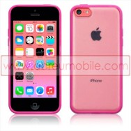 Bolsa / Capa Rigida c/ Laterais em Silicone Gel Para APPLE IPHONE 5C Rosa c/ Traseira Branca Transparente