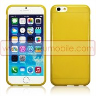 "Bolsa / Capa Silicone Gel TPU Para APPLE IPHONE 6 / 6s 4.7"" Amarela Transparente"