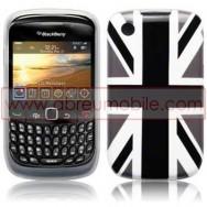 "Bolsa / Capa Silicone Gel ""Reino Unido"" Para BLACKBERRY 8520 / 9300 CURVE 3G Preta/Branca"