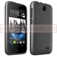 Bolsa / Capa Silicone Gel TPU c/ Efeito Metal Escovado Para HTC DESIRE 310 Cinza