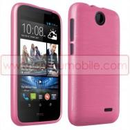 Bolsa / Capa Silicone Gel TPU c/ Efeito Metal Escovado Para HTC DESIRE 310 Rosa