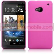 Bolsa / Capa Rigida Traseira Hibrida (Plastico C/Revestimento em Silicone) Para HTC ONE (M7) Rosa Opaca
