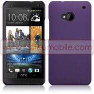 Bolsa / Capa Rigida Traseira Hibrida (Plastico C/Revestimento em Silicone) Para HTC ONE (M7) Roxa Opaca