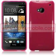 Bolsa / Capa Silicone Gel Para HTC ONE (M7) Rosa Transparente