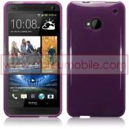 Bolsa / Capa Silicone Gel Para HTC ONE (M7) Roxa Transparente