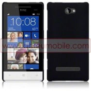 Hard Back Hybrid Case (Plastic w/ Thin Rubber Coating) For HTC WINDOWS PHONE 8S SOLID BLACK + SCREEN PROTECTOR FILM
