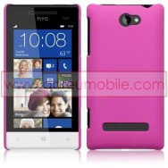 Hard Back Hybrid Case (Plastic w/ Thin Rubber Coating) For HTC WINDOWS PHONE 8S SOLID PINK + SCREEN PROTECTOR FILM