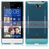 Silicone Gel TPU Cover Case For HTC WINDOWS PHONE 8S BLUE + SCREEN PROTECTOR FILM
