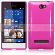 Silicone Gel TPU Cover Case For HTC WINDOWS PHONE 8S SOLID PINK + SCREEN PROTECTOR FILM