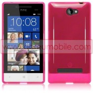 Silicone Gel TPU Cover Case For HTC WINDOWS PHONE 8S PINK + SCREEN PROTECTOR FILM