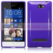 Silicone Gel TPU Cover Case For HTC WINDOWS PHONE 8S SOLID PURPLE + SCREEN PROTECTOR FILM