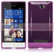 Silicone Gel TPU Cover Case For HTC WINDOWS PHONE 8S PURPLE + SCREEN PROTECTOR FILM