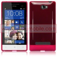 Silicone Gel TPU Cover Case For HTC WINDOWS PHONE 8S RED + SCREEN PROTECTOR FILM