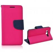Bolsa / Capa Pele Sintetica Flip Cover Horizontal Fina c/ Função Cavalete e Suporte em Gel v2 Para LG K4 (K120E) Rosa c/ Interior Azul