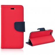 Bolsa / Capa Pele Sintetica Flip Cover Horizontal Fina c/ Função Cavalete e Suporte em Gel v2 Para SAMSUNG GALAXY S5 G900 / S5 NEO G903 Vermelha e Azul