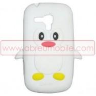 "Bolsa / Capa Silicone ""Pinguim 3D"" Para SAMSUNG GALAXY S5 G900 / S5 NEO G903 Branca"