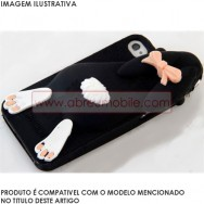 "Bolsa / Capa Silicone ""Coelho 3D"" Para Samsung Galaxy S4 IV I9500 Preta"
