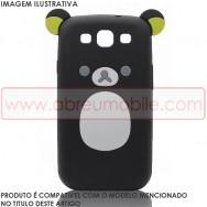 "BOLSA / CAPA SILICONE ""URSO 3D"" PARA APPLE IPHONE 4 / 4S PRETA"