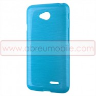 Bolsa / Capa Silicone Gel TPU c/ Efeito Metal Escovado Para LG L65 / L65 DUAL / L70 / L70 DUAL Azul