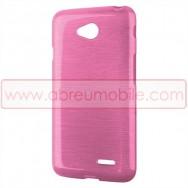 Bolsa / Capa Silicone Gel TPU c/ Efeito Metal Escovado Para LG L65 / L65 DUAL / L70 / L70 DUAL Rosa