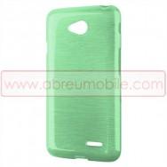 Bolsa / Capa Silicone Gel TPU c/ Efeito Metal Escovado Para LG L65 / L65 DUAL / L70 / L70 DUAL Verde