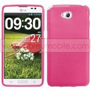 Bolsa / Capa Silicone Gel TPU c/ Efeito Metal Escovado Para LG G PRO LITE DUAL D686 Rosa