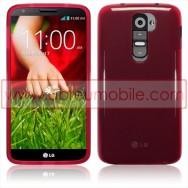 Bolsa / Capa Silicone Gel Para LG MAXIMO G2 / D802 Vermelha Transparente