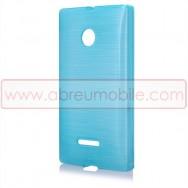 Bolsa / Capa Silicone Gel TPU c/ Efeito Metal Escovado Para MICROSOFT LUMIA 435 Azul
