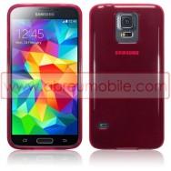 Bolsa / Capa Silicone Gel Para SAMSUNG GALAXY S5 G900 / S5 NEO G903 Vermelha Transparente