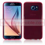 Bolsa / Capa Silicone Gel Para SAMSUNG GALAXY S6 (SM-G920) Vermelha Transparente