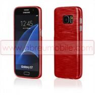 Bolsa / Capa Silicone Gel TPU c/ Efeito Metal Escovado Para SAMSUNG GALAXY S7 (SM-G930) Vermelha