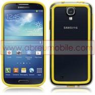 Bolsa / Capa Bumper Plastico/Silicone Para Samsung Galaxy S4 IV I9500 Transparente e Amarela