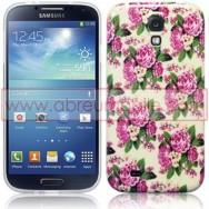 "Bolsa / Capa Silicone Gel ""Flores"" Para Samsung Galaxy S4 IV I9500"