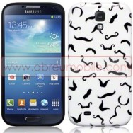 "Bolsa / Capa Silicone Gel ""Bigodes"" Para Samsung Galaxy S4 IV I9500 Branca"