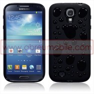 "Bolsa / Capa Silicone Gel ""Bolhas"" Para Samsung Galaxy S4 IV I9500 Preta"