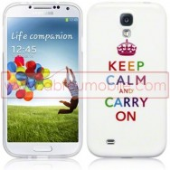 "Bolsa / Capa Silicone Gel ""Keep Calm Multicolorido"" Para Samsung Galaxy S4 IV I9500 Branca"