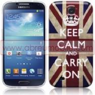 "Bolsa / Capa Silicone Gel ""Keep Calm"" Para Samsung Galaxy S4 IV I9500 Reino Unido Vintage"