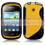 Bolsa / Capa Silicone Gel S-Design Com Traseira Rigida Para Samsung Galaxy Music S6010 / S6012 Preta e Transparente