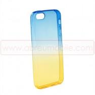 Bolsa / Capa Silicone Gel 2 Cores Para APPLE IPHONE 5 / 5S / SE Azul e Amarela