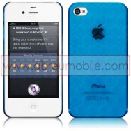 BOLSA / CAPA RIGIDA TRASEIRA PARA APPLE IPHONE 4 / 4S HEXAGONOS AZUL TRANSPARENTE