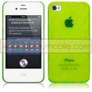 BOLSA / CAPA RIGIDA TRASEIRA PARA APPLE IPHONE 4 / 4S HEXAGONOS VERDE TRANSPARENTE