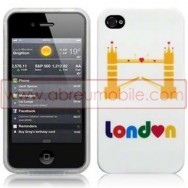"BOLSA / CAPA SILICONE GEL ""LONDRES - PONTE"" PARA APPLE IPHONE 4 / 4S BRANCA"