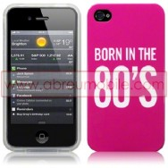 "BOLSA / CAPA SILICONE GEL ""BORN IN THE 80'S"" PARA APPLE IPHONE 4 / 4S ROSA"